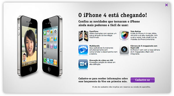 Photo of Vivo também disponibiliza formulário de cadastro para interessados no iPhone 4
