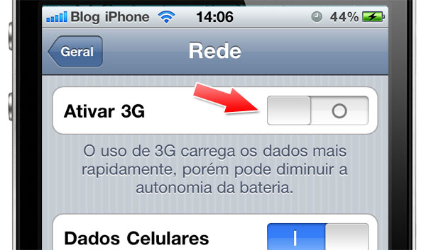 Desabilitar o 3G
