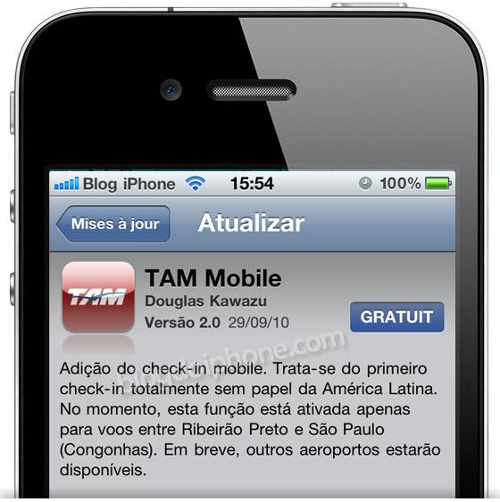 Atualização no app da TAM