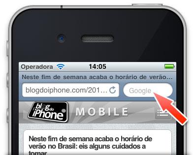 Busca de palavras no Safari Mobile