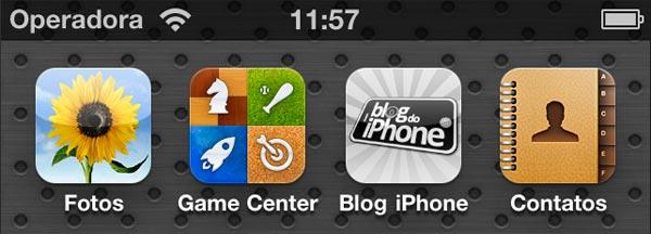 Ícone de página web na tela de aplicativos