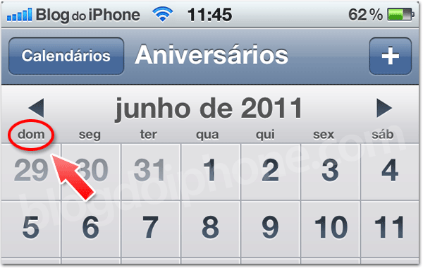 Photo of Novidade no beta do iOS 5: semana começando no domingo no Calendário