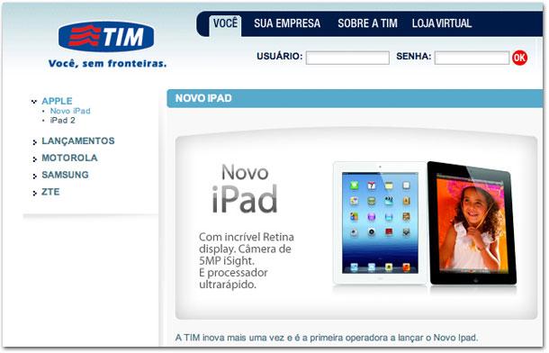 Photo of TIM publica em seu site os seus preços para o novo iPad Wi-Fi + 4G