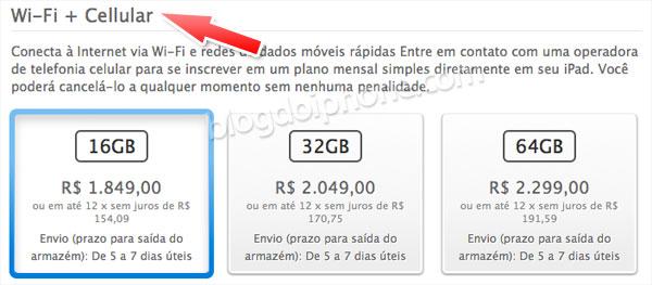 Photo of Página brasileira da Apple já chama o novo iPad 4G de 'WiFi + Cellular'