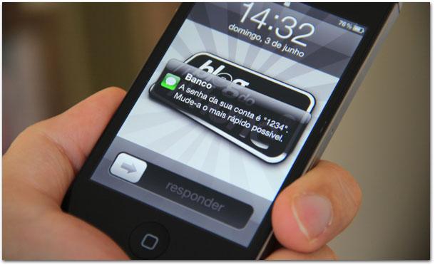 Mensagens na tela de início