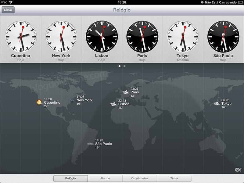 2c38645a287 aperitivo iOS 6  iPad ganhará aplicativo de Relógio nativo no ...