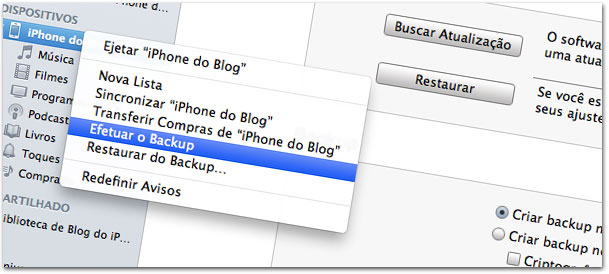 Backup no iTunes