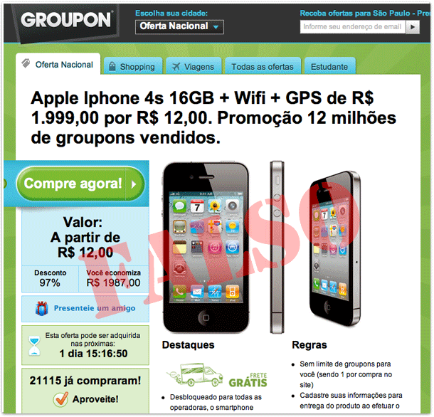 Photo of Falsa página do Groupon engana interessados no iPhone em redes sociais