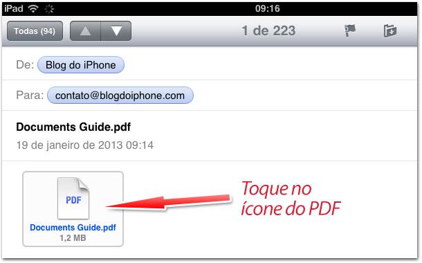 Toque no arquivo PDF para abrí-lo