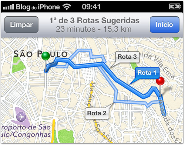 Rotas nos Mapas da Apple
