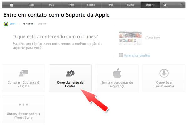 Suporte Apple - Gerenciamento de Contas