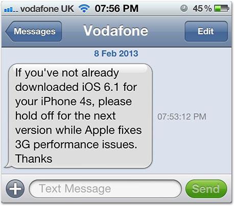 SMS Vodafone UK