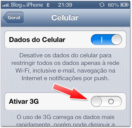 Desligar 3G