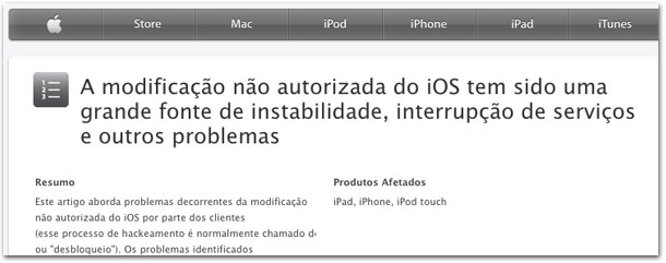 Página oficial da Apple