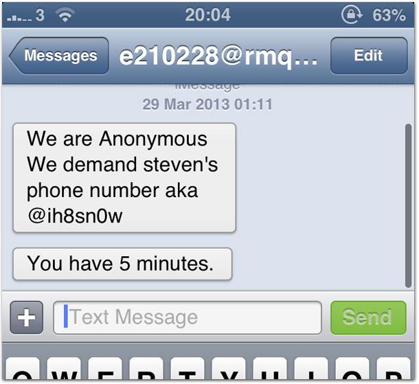 Ameaça via mensagens