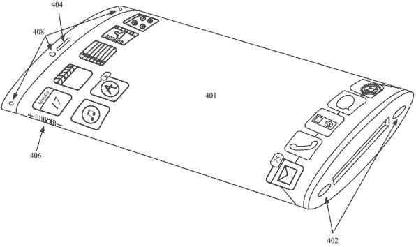 Patente de iPhone com tela curva