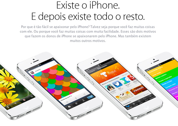Página sobre o iPhone