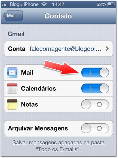 Ativando email e calendários