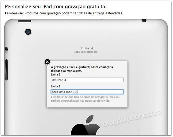 Mensagem no iPad