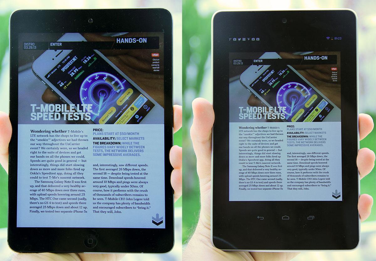 Revista vista nos dois aparelhos