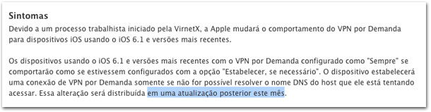 Página antiga da Apple