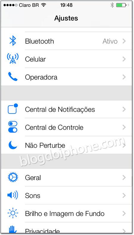 iOS 7 - Ajustes
