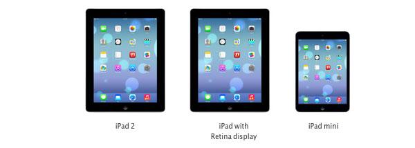 iPad Retina, iPad 2 e iPad mini