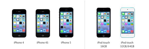 iPhone 4, 4S, 5 e iPod 5ª geração