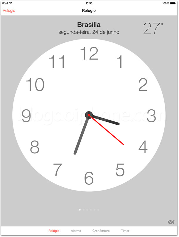 Relógio iOS 7