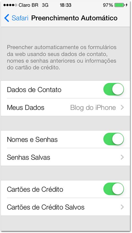 Chaves no iCloud