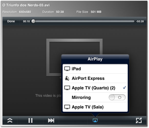 Air Video com AirPlay na Apple TV