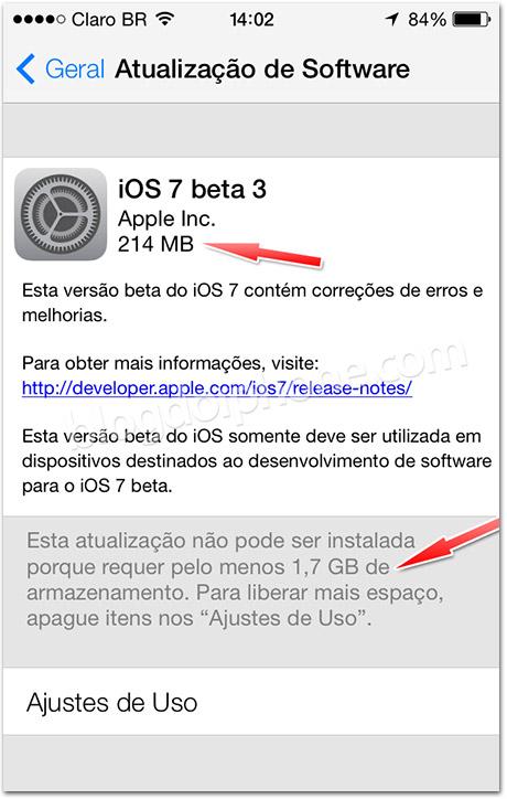 Espaço iOS 7