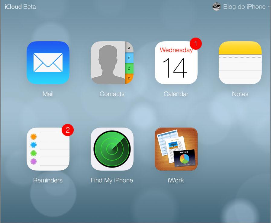Novo layout do iCloud