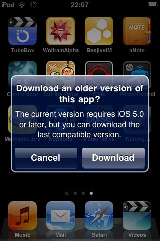 Mensagem iOS antigo