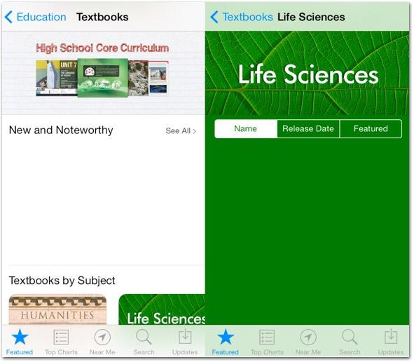 Seções da iBookstore