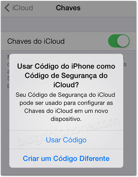 Chaves do iCloud