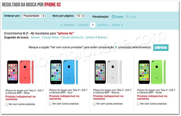 iPhone 5c em um site brasileiro