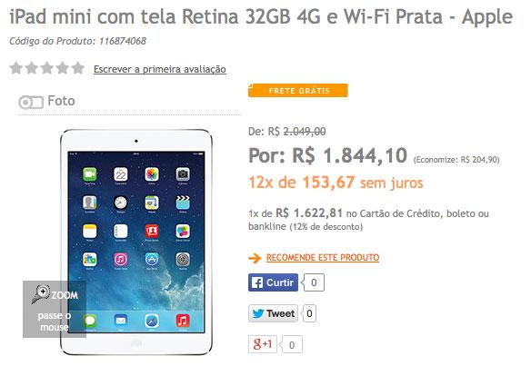 Preço iPad mini Retina