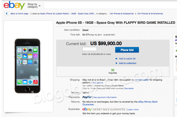 Photo of Notícia ridícula do dia: iPhone com Flappy Bird instalado custando US$100 mil
