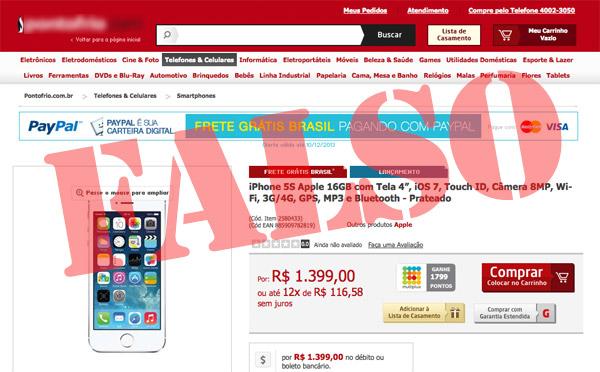 Photo of Página falsa de varejo oferece iPhone 5s por preço ridiculamente baixo