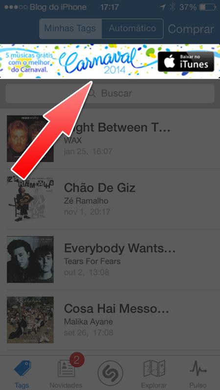Banner no app Shazam