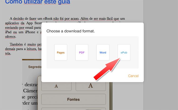Exportar para ePub