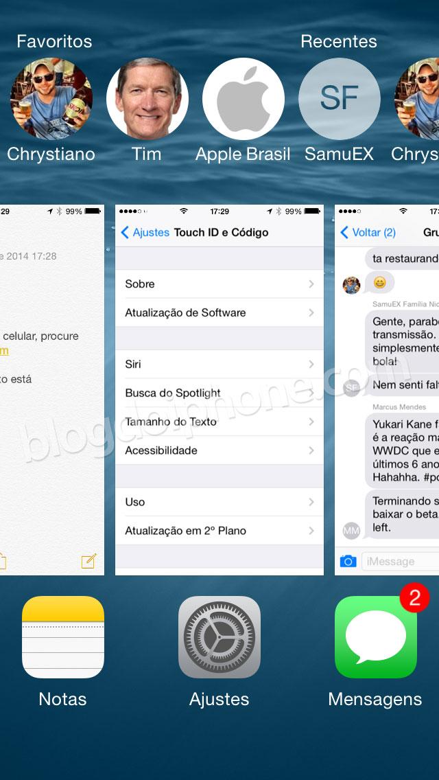 iOS 8 - Atalhos contatos