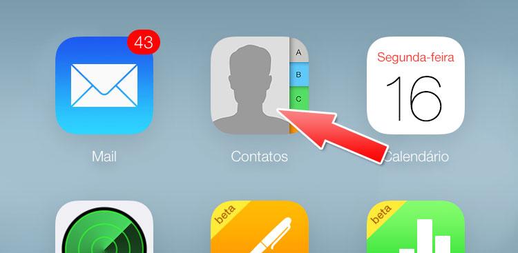 Contatos no iCloud