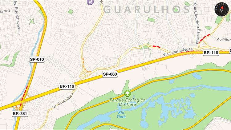 Trânsito nos Mapas do iOS