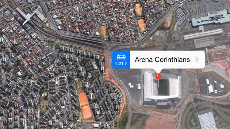 Estádios da Copa no Mapas