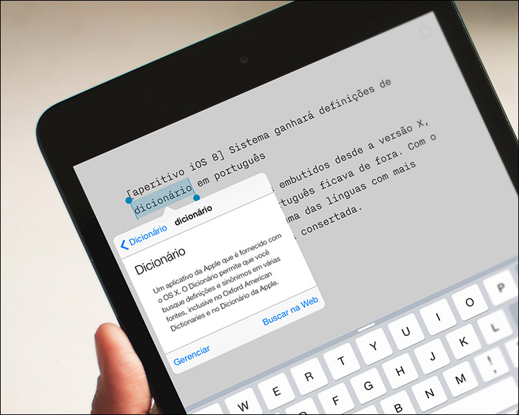 Dicionário embutido no iPad