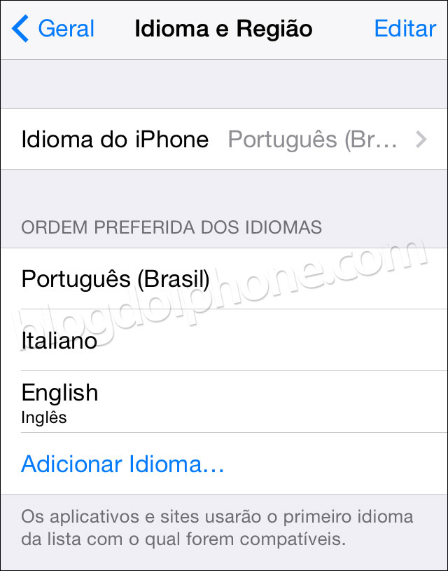iOS 8 — Idiomas alternativos