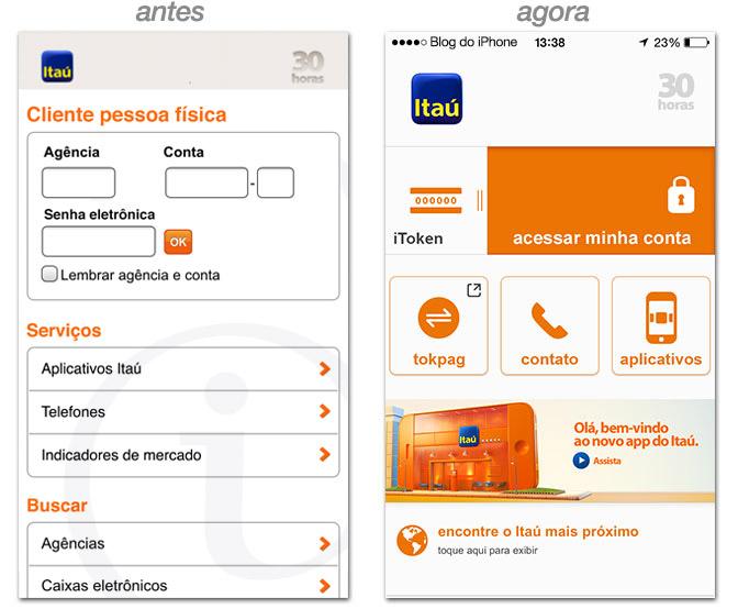 App Itaú, antes e depois