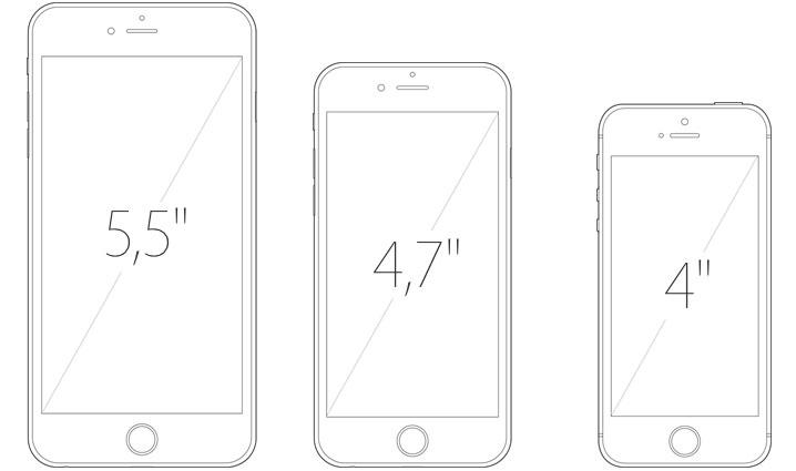 Tamanhos dos iPhone 6